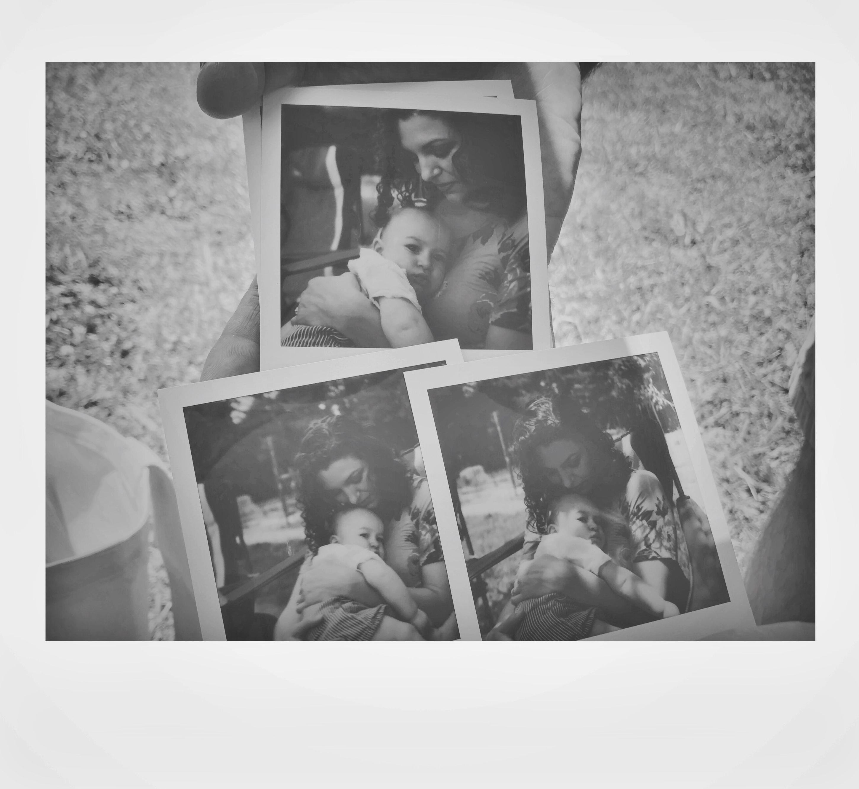 polaroid photos mother and child
